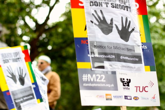 Hands Up! Don't Shoot – Justice for Michael Brown protest at the US Embassy London 27/08/14 (video)